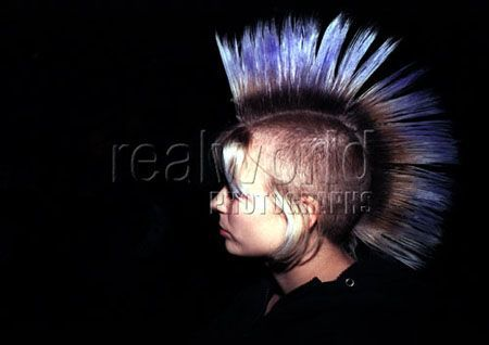 A punker sports a mohawk at a concert in Sheffield, England, UK.