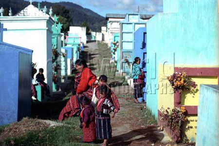 Solola locals visit the cemetery to pay respect to their lost loved ones. Solola, Guatemala, Central America.