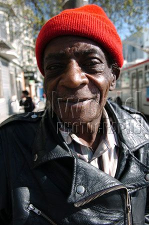 Michael, a portrait of a homeless in man in Haight and Ashbury in San Francisco, California, USA.